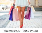 after day shopping. close up of ... | Shutterstock . vector #305219333