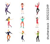 set of dancing people in flat... | Shutterstock . vector #305222249