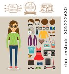 hipster girl elements. hipster... | Shutterstock . vector #305222630