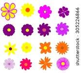 colorful flower set   Shutterstock . vector #305226866
