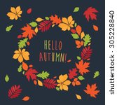 autumnal round frame. wreath of ... | Shutterstock .eps vector #305228840