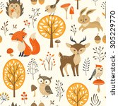 Stock vector autumn forest seamless pattern with cute animals 305229770