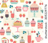food seamless pattern with... | Shutterstock .eps vector #305229776