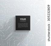 realistic black microchip on... | Shutterstock .eps vector #305232809