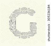 vector mono line style... | Shutterstock .eps vector #305236184
