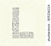 vector mono line style... | Shutterstock .eps vector #305236214