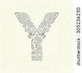 vector mono line style... | Shutterstock .eps vector #305236250
