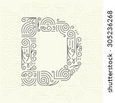 vector mono line style... | Shutterstock .eps vector #305236268