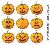 halloween set of isolated... | Shutterstock .eps vector #305240126