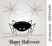 spider with web on a light gray ... | Shutterstock .eps vector #305241644