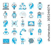 artificial intelligence icons... | Shutterstock .eps vector #305244074