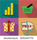 shopping flat icon set for web  ...