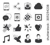 vector set of social media... | Shutterstock .eps vector #305254238