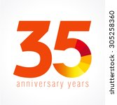35 years old logo with pie... | Shutterstock .eps vector #305258360