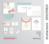 vector templates with floral... | Shutterstock .eps vector #305259824
