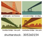 Stock vector set of four american cities with bridges vintage vector landscapes 305260154