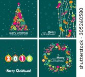 template christmas greeting... | Shutterstock .eps vector #305260580