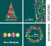 template christmas greeting...   Shutterstock .eps vector #305260580