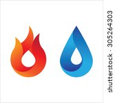 modern style fire and water...   Shutterstock .eps vector #305264303