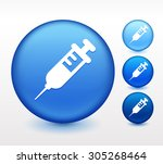 syringe on blue round button | Shutterstock .eps vector #305268464