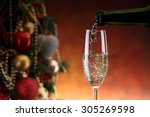 pouring champagne and new year... | Shutterstock . vector #305269598