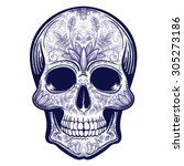 Vector Blue Tattoo Skull...