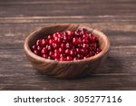 bowl of cranberries on old... | Shutterstock . vector #305277116