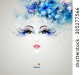beautiful nice women with... | Shutterstock .eps vector #305277566