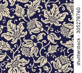 seamless floral pattern.... | Shutterstock .eps vector #305278760