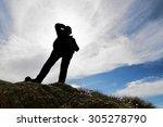 happy woman backlit silhouette... | Shutterstock . vector #305278790