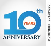 10 years anniversary template... | Shutterstock .eps vector #305284310