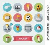 vector soccer icons sign set... | Shutterstock .eps vector #305285714