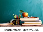 back to school supplies. books... | Shutterstock . vector #305292356