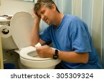 an extremely ill man that has... | Shutterstock . vector #305309324