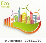 environmentally friendly world. ... | Shutterstock .eps vector #305311790