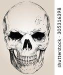 vector skull with easy edited   Shutterstock .eps vector #305316398