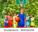 cute boy with ball and happy... | Shutterstock . vector #305326190