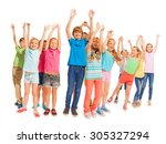 group of happy kids with raised ... | Shutterstock . vector #305327294