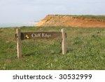 'cliff Edge' Warning Sign Near...