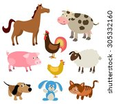 set of cute cartoon farm... | Shutterstock . vector #305332160