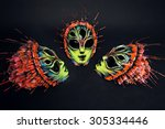 masquerade colorful scary masks  | Shutterstock . vector #305334446