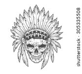 indian skull with feathers.   Shutterstock .eps vector #305335508