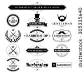 set of vintage  barber badges... | Shutterstock .eps vector #305335640
