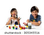 two smiling little kids at the... | Shutterstock . vector #305345516