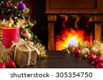 christmas decorations  a gift... | Shutterstock . vector #305354750