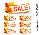 collection of autumn sale... | Shutterstock .eps vector #305355470