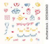 hearts. love symbols. valentine'... | Shutterstock .eps vector #305360060