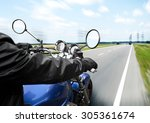 man driving on moto on big... | Shutterstock . vector #305361674