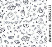 love symbols seamless pattern.... | Shutterstock .eps vector #305363138