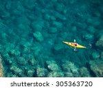 top view of kayak boat oin... | Shutterstock . vector #305363720